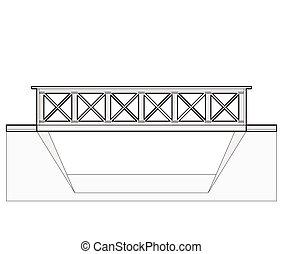 vector, tren, puente, 2d, vista lateral, aislado, blanco,...