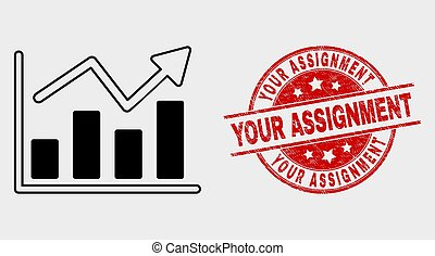 Vector Trend Chart Icon and Scratched Your Assignment Stamp