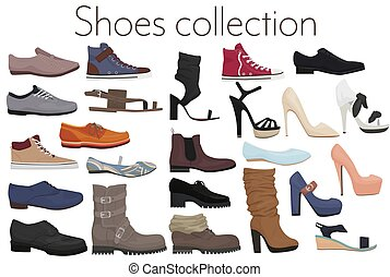Vector trendy collection of men's and women's shoes fashion footwear.
