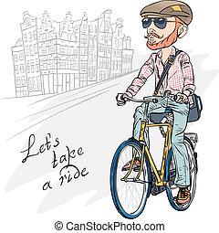 Vector trendy hipster bearded guy on a bike - Trendy hipster...