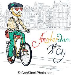 Vector trendy hipster bearded guy on a bike