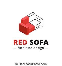 Vector trendy isometric red sofa logo. Brand sign