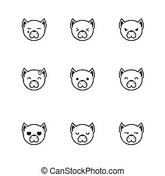 Vector trendy line style set of funny cartoon dog faces