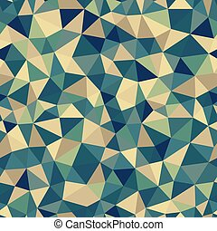 Vector trendy low poly seamless pattern. Teal and beige polygonal background