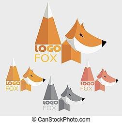 Vector trendy minimalistic fox logo in flat style.