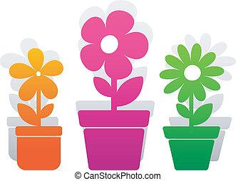 vector, tres, flor