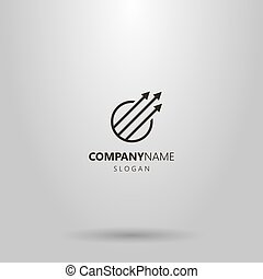vector, tres, redondo, logotipo, simple, línea, marco, ...