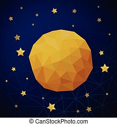 triangle background with moon and the stars