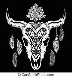 Tribal animal skull illustration
