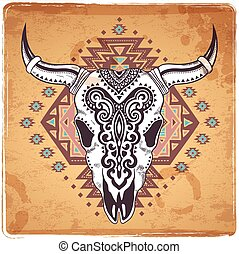 Tribal animal skull illustration with ethnic ornaments