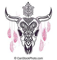 Tribal animal skull illustration with ethnic ornaments -...