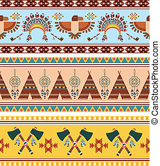 Vector Tribal Ethnic Vintage Background - Vector Seamless...