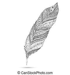 vector, tribal, feather., serie, de, garabato, feather.