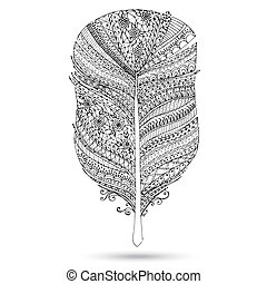Vector tribal feather. Series of doodle feather.
