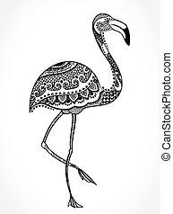 Flamingo bird with ethnic ornaments - Vector tribal Flamingo...