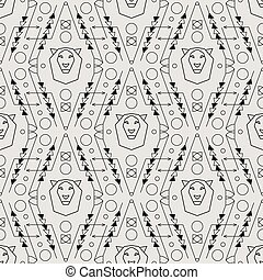Vector Tribal Seamless Pattern with Lion