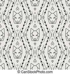 Vector Tribal Seamless Pattern with Wolf