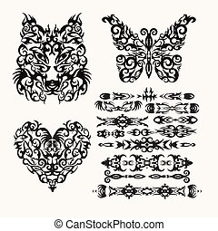 Vector tribal set with heart, wolf, butterfly and ethnic styles elements