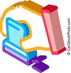 vector, tribunal, mano, isométrico, ilustración, signet, icono