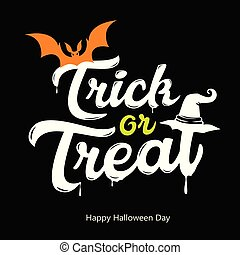 Vector Trick or treat white message design happy Halloween ...