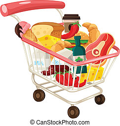 Vector Trolley Full of Delicious Food