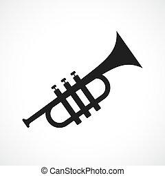 vector, trompeta, icono