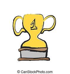 vector trophy, doodle icon