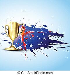 vector trophy - vector golden trophy on abstract background