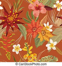 Vector tropic floral Seamless autumn pattern. Elegant dry palm leaves, boho watercolor tropical flowers