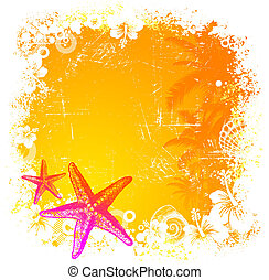 Vector tropical background with hand drawn starfishes