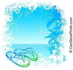Vector tropical background with hand drawn beach slippers