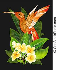 Vector tropical banner. Summer design for advertising with hummingbird, tropical leaves and flowers isolated on black. Image with plumeria flowers, jungle exotic palm leaf, orchid and exotic bird