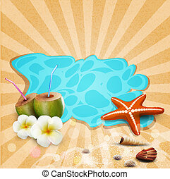 vector tropical banner with seashells, starfish