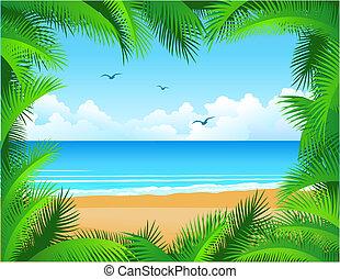 Vector tropical beach framed by coconut leaf