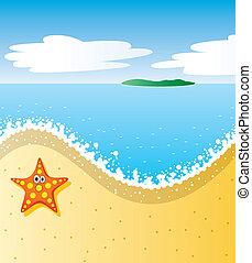 vector tropical beach with sea-star