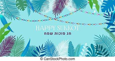 vector, tropical, feriado, sukkot, illustration., judío, tradicional, palma, sukkah, hojas, colorido, plano de fondo