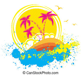Vector tropical island. Abstract grunge background