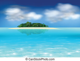 Vector tropical island background, realistic illustration.