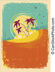 Vector tropical island on vintage old  background with grunge