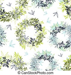 Vector tropical leaves circles summer seamless pattern with tropical green, blue plants and leaves on white background. Great for vacation themed fabric, wallpaper, packaging.