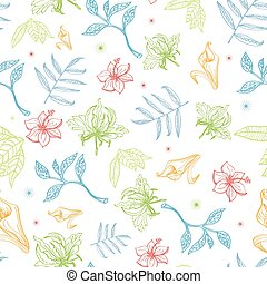 Vector Tropical Pastel Drawing Flowers Seamless Pattern