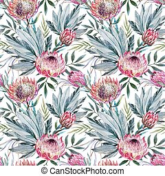 Vector tropical protea pattern - Beautiful vector pattern...