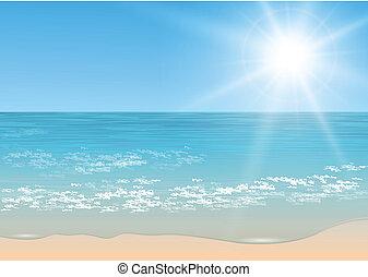 Vector tropical sea. - Beach and tropical sea with sun,...