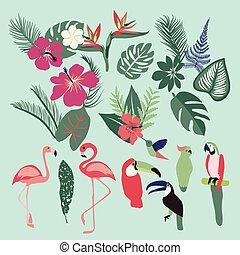 Palm leaves, tropical plants, flowers, leaves, birds, birds, flamingo, toucan, parrots