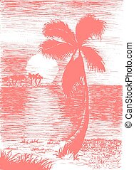 Vector tropical summer illustration with palm
