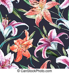 Beautiful vector pattern with nice watercolor tropical lillies