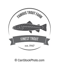 Vector trout emblem, label. Template for clubs, farms, stores, markets, food packaging.