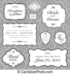 vector, trouwfeest, frame, set