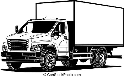 Vector truck outline template isolated on white. Available ...