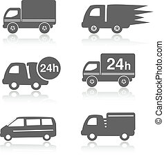 Vector truck symbols with shadow, delivery within 24 hours,...